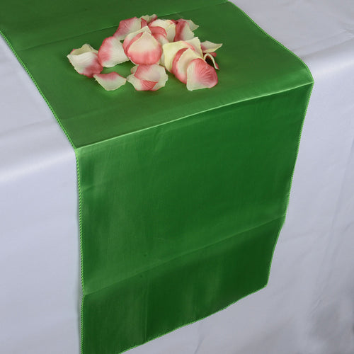 12 inch x 108 inches Apple Green Satin Table Runner