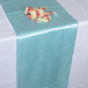 12 inch x 108 inches Aqua Blue Satin Table Runner