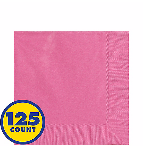 Bright Pink Big Party Pack Beverage Napkins 125pcs