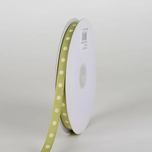 Pear with Ivory Dots Grosgrain Ribbon Polka Dot - ( W: 3/8 inch | L: 50 Yards )