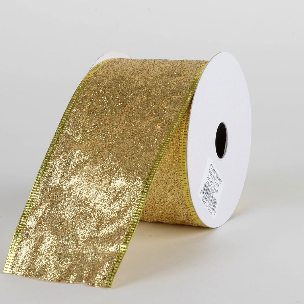 Gold Glitter Christmas Ribbon - (2.5 inch x 10 yards) - C1840327