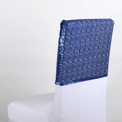 Navy Blue Duchess Sequin Chair Top Covers