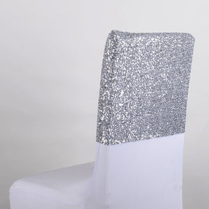 Silver Duchess Sequin Chair Top Covers