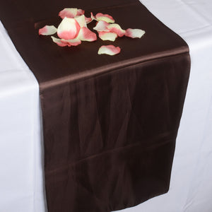 12 inch x 108 inches Chocolate Brown Satin Table Runner