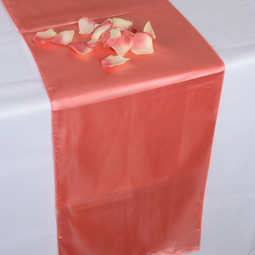 12 inch x 108 inches Coral Satin Table Runner