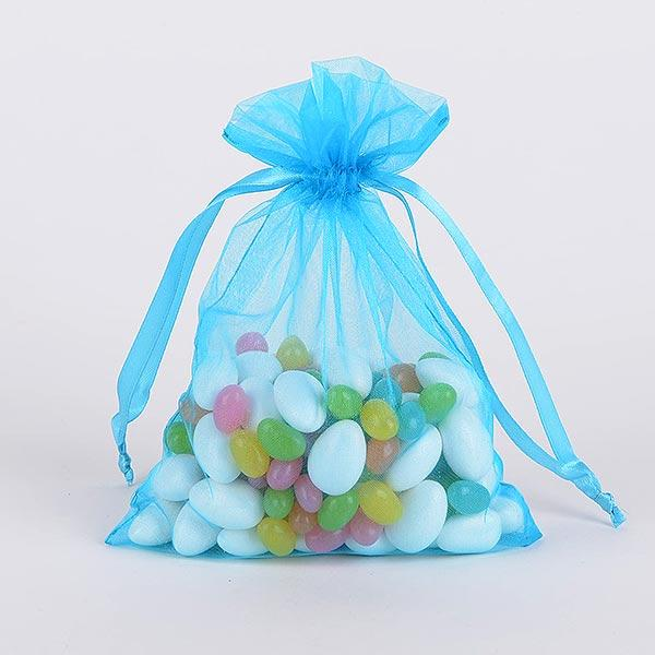 Turquoise - Organza Bags - ( 3x4 Inch - 10 Bags )