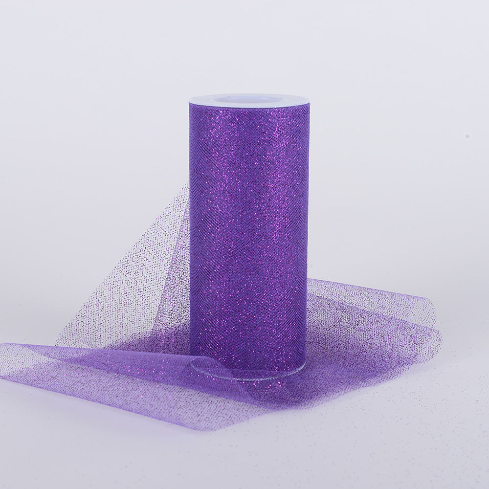 Purple Premium Glitter Tulle Fabric ( W: 6 Inch | L: 10 Yards )