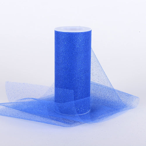 Royal Blue Premium Glitter Tulle Fabric ( W: 6 Inch | L: 10 Yards )