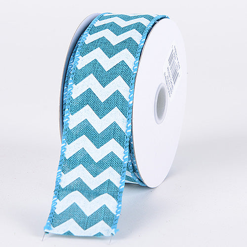Teal- Chevron Canvas Wired Edge - ( W: 2-1/2 Inch | L: 10 Yards )