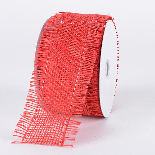 Red - Frayed Edge Burlap Wired Edge - ( 2-1/2 Inch | 10 Yards )