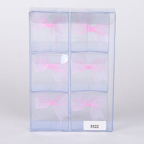 Pink Organza Bow Plastic Box 2''x2''x1.3'' - Pack of 6 Boxes
