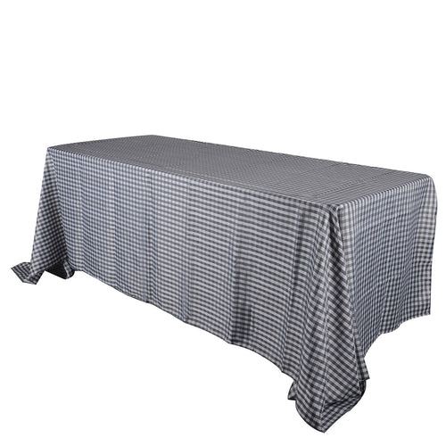 Grey - Checkered/ Plaid Rectangle Tablecloths - ( 58 inch x 126 inch )