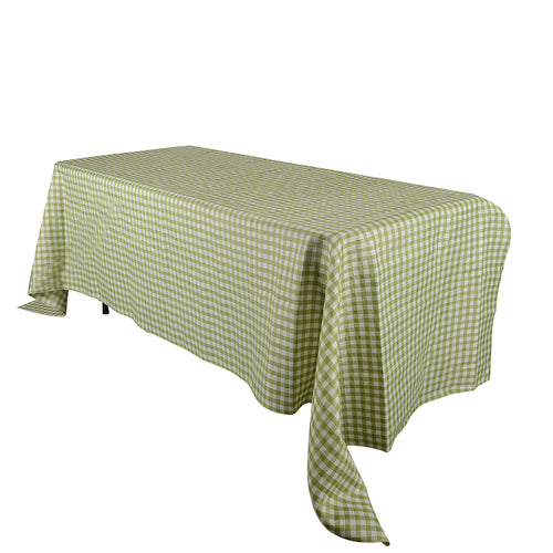 Green - Checkered/ Plaid Rectangle Tablecloths - ( 58 inch x 126 inch )