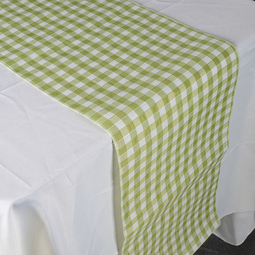Green - Checkered/ Plaid Table Runner - ( 14 inch x 90 inch )