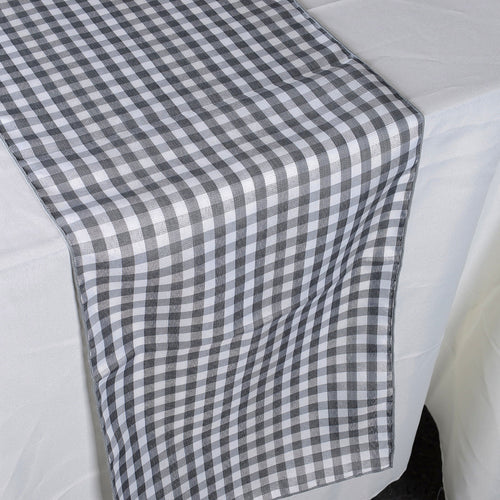 Grey - Checkered/ Plaid Table Runner - ( 14 inch x 90 inch )