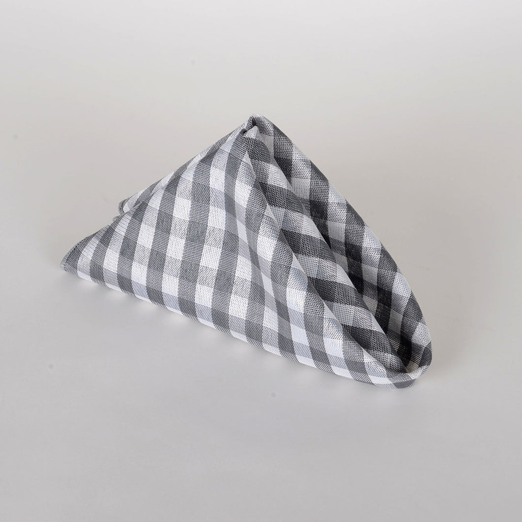 Grey - Checkered/ Plaid Napkins - Pack of 4