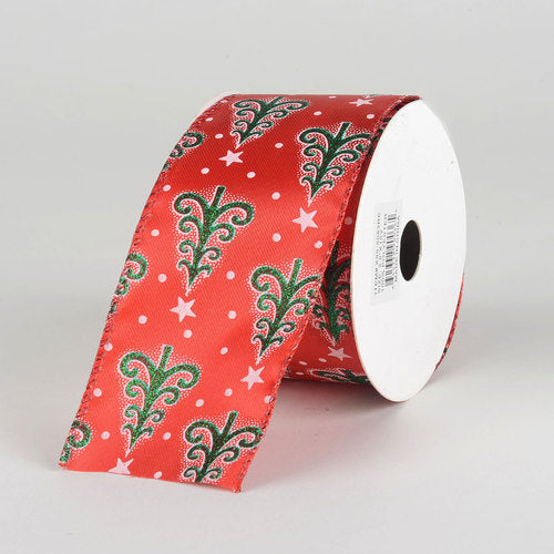 Red Satin Christmas Ribbon - (2.5 inch x 10 yards) - 955083RE