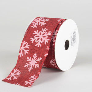Red Faux Burlap Christmas Ribbon - (2.5 inch x 10 yards) - 960225
