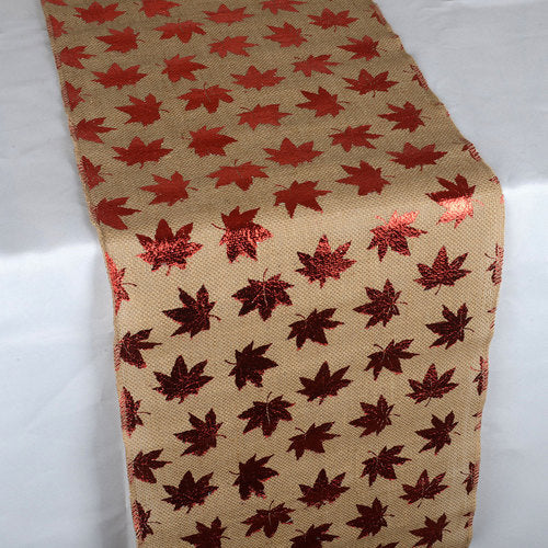 Leaf Natural - 14 x 108 inch Jute Burlap Table Runner
