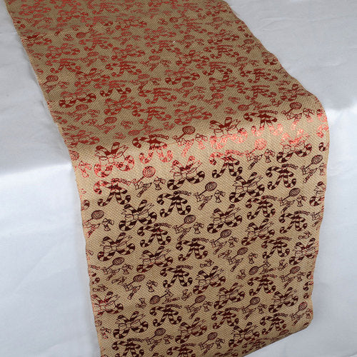 Candy Cane Natural - 14 x 108 inch Burlap Table Runner