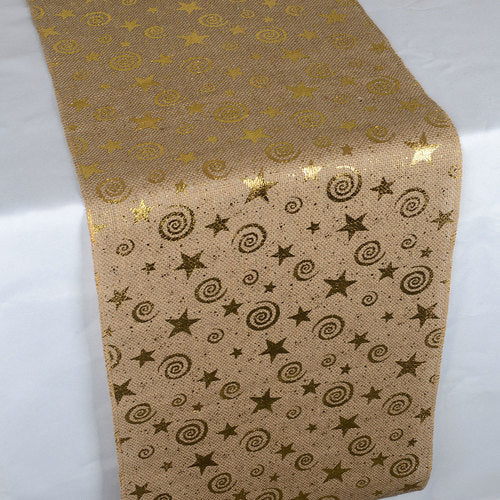 Shiny Stars Natural - 100% Natural Jute Burlap Table Runner ( 14 inch x 108 inches )