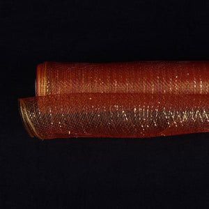Red with Gold Lines  - Deco Mesh Wrap Metallic Stripes -  ( 21 Inch x 10 Yards ) - XB90512G