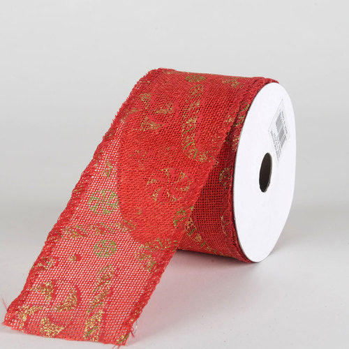 Red Faux Burlap Christmas Ribbon - (2.5 inch x 10 yards) - 960512RE