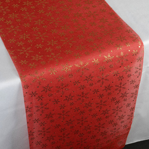 Golden Snowflake Red Faux - 14 x 108 inch Burlap Table Runner