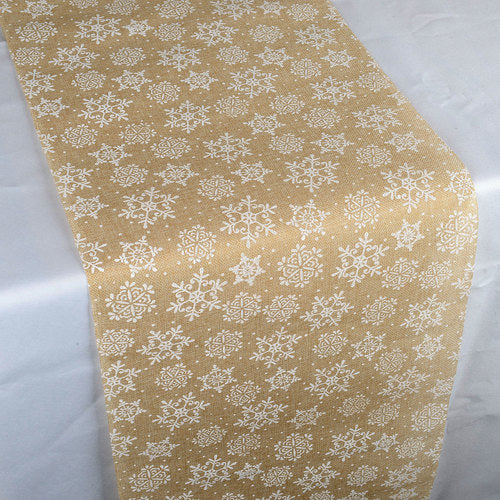 White Snowflake Faux Burlap Table Runner ( 14 inch x 108 inches )