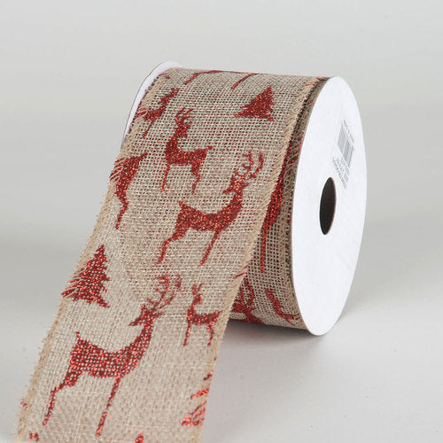 Natural Faux Burlap Christmas Ribbon - (2.5 inch x 10 yards) - 960424GO