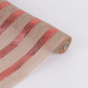 Red  - Natural Burlap Metallic Stripes Mesh -  ( 21 Inch x 6 Yards )
