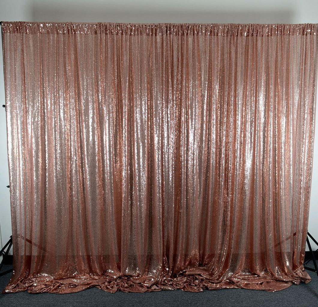 Rose Gold Sequin Backdrop Curtain 20Ft x 10Ft