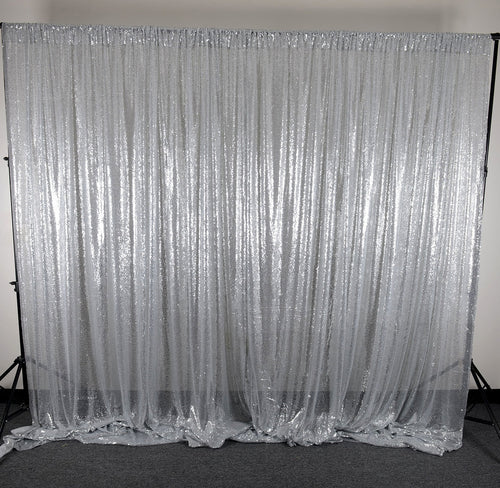 Silver Sequin Backdrop Curtain 20Ft x 10Ft