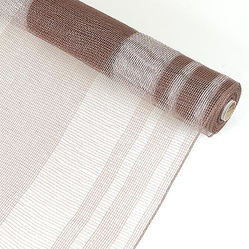 Brown with White  - Floral Mesh Striped Design -  ( 21 Inch x 10 Yards )