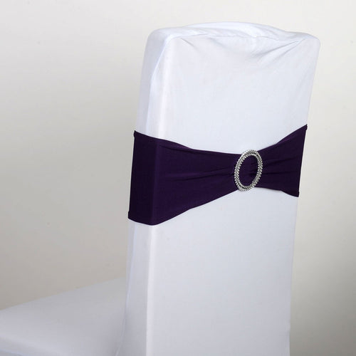 Spandex Chair Sash with Buckle - Plum  5 pieces