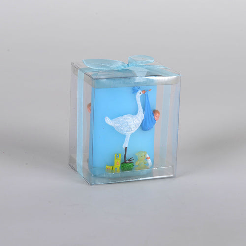 Stork Baby Candle - Blue
