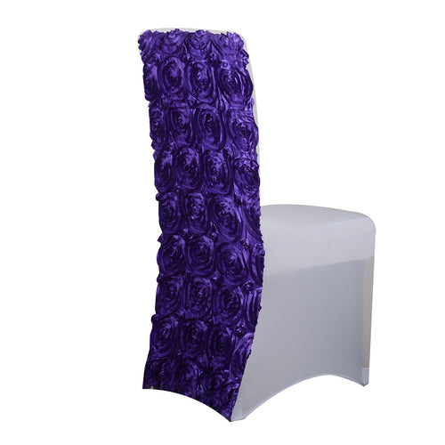 Rosette Spandex Chair Cover  - Purple