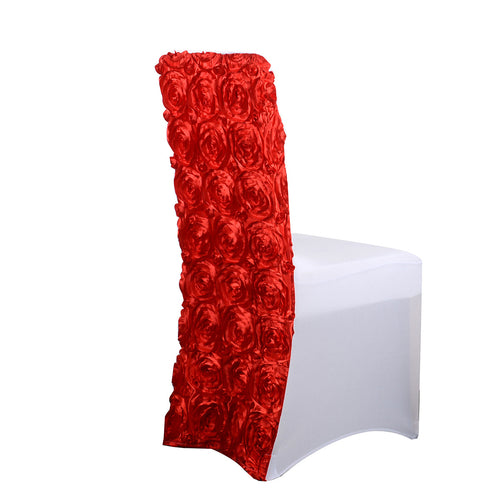 Red - Rosette Spandex Chair Cover