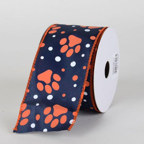 Navy Satin Orange Paw Prints White Dots Ribbon ( 2-1/2 Inch x 10 Yards )