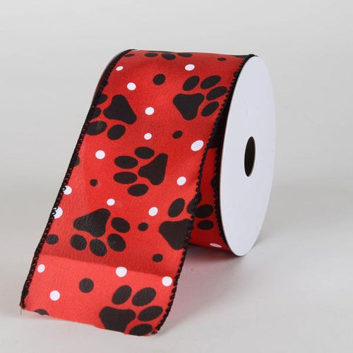 Red Satin Black Paw Prints White Dots Ribbon ( 2-1/2 Inch x 10 Yards )