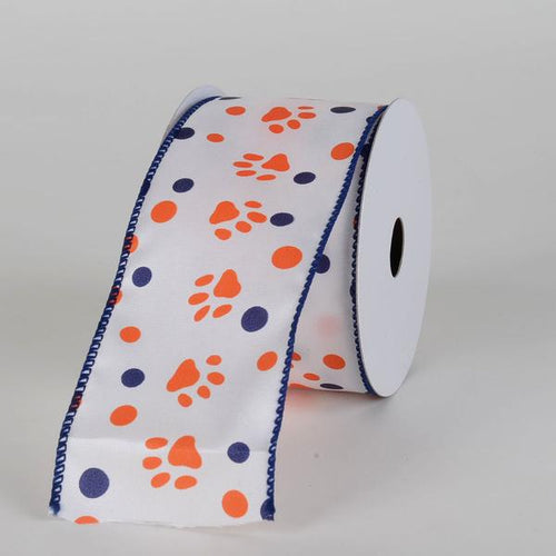 White Satin Orange Paw Prints Navy Dots Ribbon ( 2-1/2 Inch x 10 Yards )
