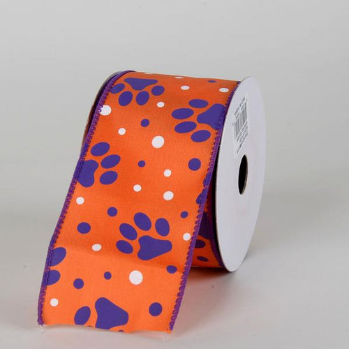 Orange Satin Purple Paw Prints White Dots Ribbon ( 2-1/2 Inch x 10 Yards )
