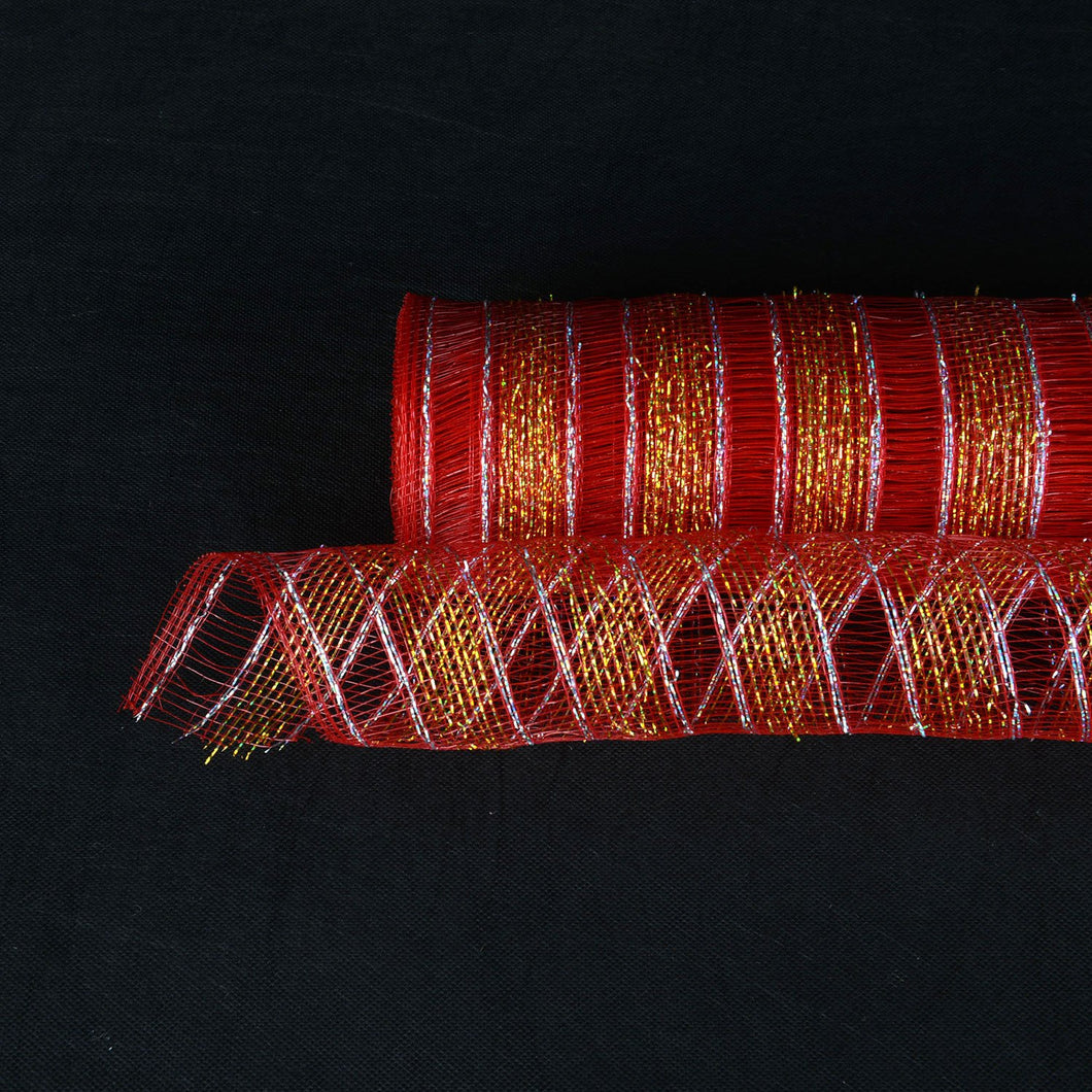 Red - Deco Mesh Eyelash Metallic Stripes - (10 Inch x 10 Yards)