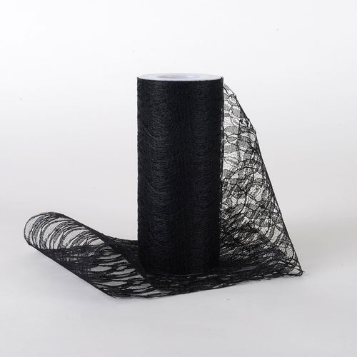 Black - Lace Roll ( W: 6 Inch | L: 10 Yards )