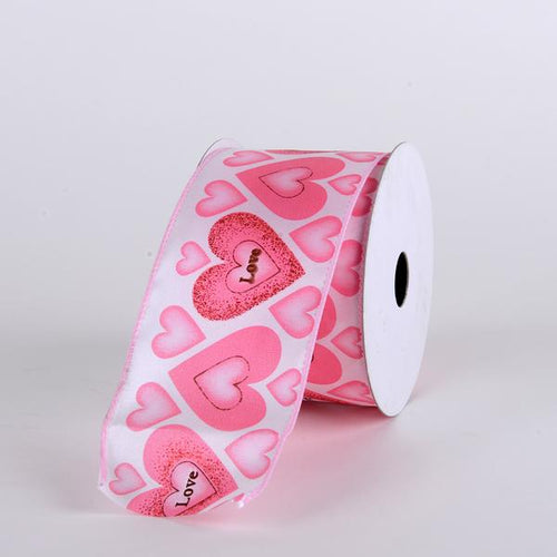 Valentine Ribbon Pink Love & Hearts ( 2-1/2 Inch x 10 Yards ) - Q1684003