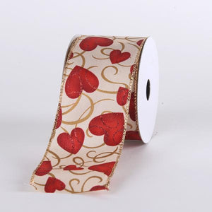Valentine Ribbon Red Hearts ( 1-1/2 Inch x 10 Yards ) - Q1660901