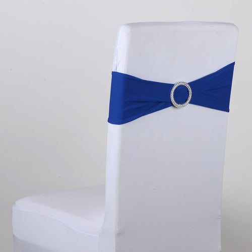 Spandex Chair Sash with Buckle - Royal Blue  5 pieces