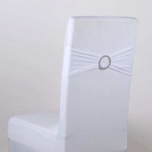 Spandex Chair Sash with Buckle - White  5 pieces