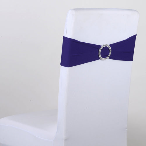 Spandex Chair Sash with Buckle - Purple  5 pieces