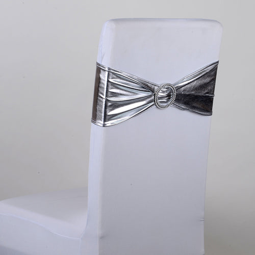 Spandex Chair Sash with Buckle - Silver 5 pieces